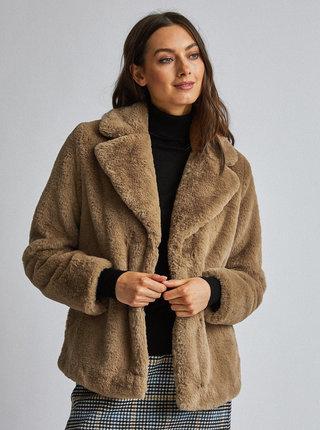Světle hnědý kabát z umělé kožešiny Dorothy Perkins