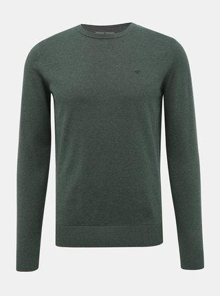 Tmavozelený pánsky basic sveter Tom Tailor
