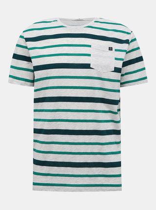 Svetlošedé pánske pruhované tričko Tom Tailor
