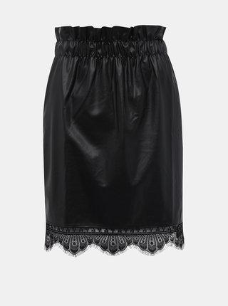 Čierna koženková sukňa Noisy May Merta