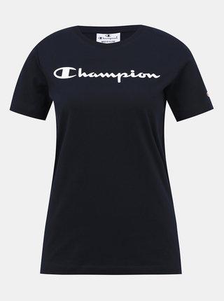 Tmavomodré dámske regular fit tričko s potlačou Champion