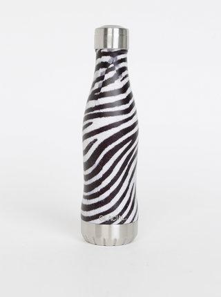 Čierno-biela fľaša so zebrovaným vzorom GLACIAL Zebra 400 ml