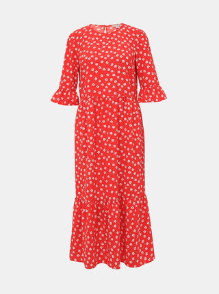 Červené kvetované midi šaty Miss Selfridge