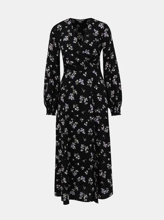 Čierne kvetované maxi šaty Miss Selfridge