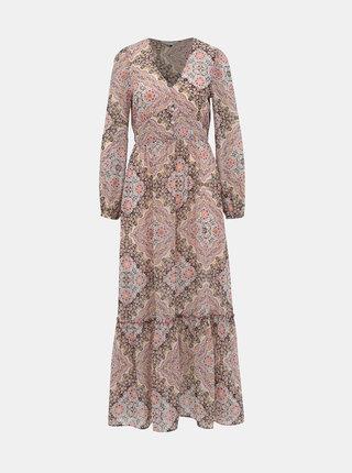 Růžové vzorované maxi šaty Miss Selfridge