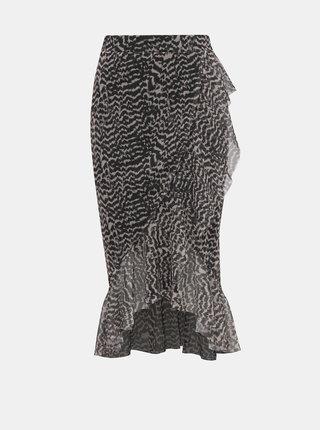 Hnědá vzorovaná sukně Miss Selfridge Petites