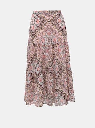 Růžová vzorovaná midi sukně Miss Selfridge