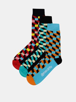Sada troch párov vzorovaných ponožiek v modrej, zelenej a červenej farbe Meatfly Checkers