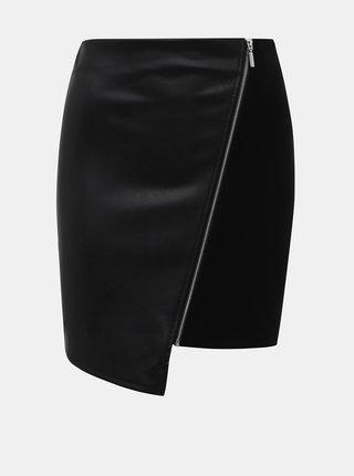 Černá koženková sukně TALLY WEiJL