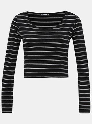 Černé pruhované krátké basic tričko TALLY WEiJL