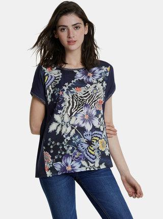 Tmavomodré kvetované tričko Desigual Edimburgo