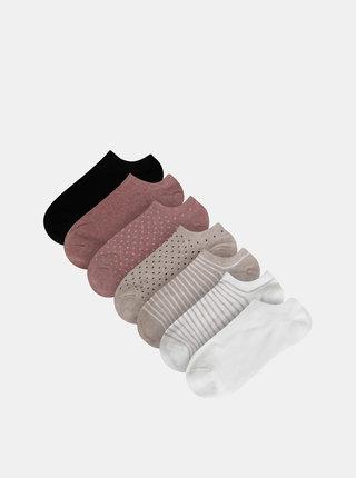 Sada sedmi párů vzorovaných nízkých ponožek v bílé, béžové, růžové a černé barvě TALLY WEiJL Flip