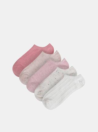 Sada piatich párov nízkych ponožiek v bielej a rúžovej farbe TALLY WEiJL Blosom