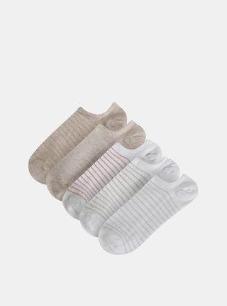 Sada piatich párov pruhovaných ponožiek v bielej a béžovej farbe TALLY WEiJL Damy