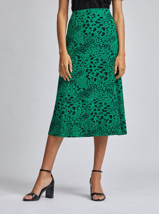 Zelená vzorovaná midi sukně Dorothy Perkins