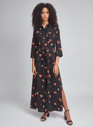 Čierne kvetované košeľové maxišaty Dorothy Perkins