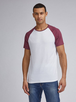 Vínovo-biele basic tričko Burton Menswear London
