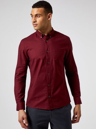 Vínová košile Burton Menswear London
