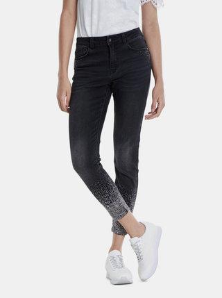 Černé zkrácené skinny fit džíny s ozdobnými detaily Desigual Nola