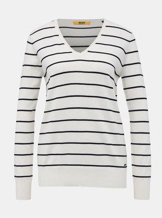 Biely dámsky pruhovaný basic sveter ZOOT Baseline Lea
