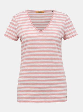 Bílo-růžové dámské pruhované basic tričko ZOOT Baseline Aliki