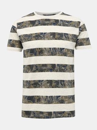 Šedo-kaki pruhované pánske tričko Shine Original
