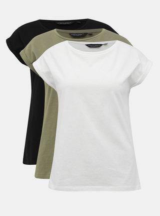 Sada troch basic tričiek v čiernej, bielej a kaki farbe Dorothy Perkins