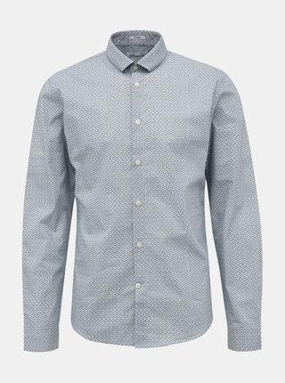 Modrá vzorovaná slim fit košile Lindbergh
