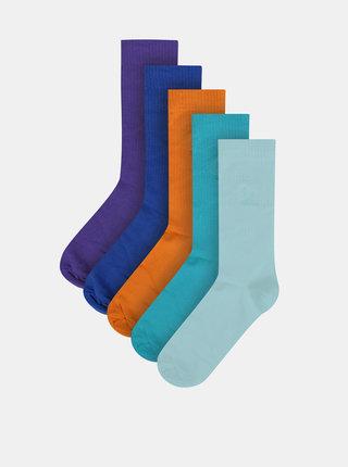 Sada pěti párů pánských ponožek v modré, oranžové a fialové barvě M&Co