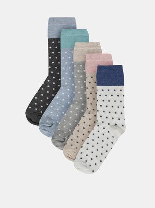 Sada piatich párov bodkovaných ponožiek v šedej, bielej a béžovej farbe M&Co