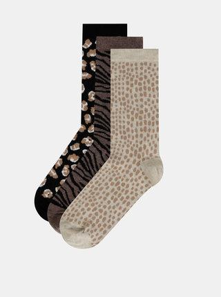 Sada troch párov vzorovaných ponožiek v čiernej, hnedej a béžovej farbe M&Co