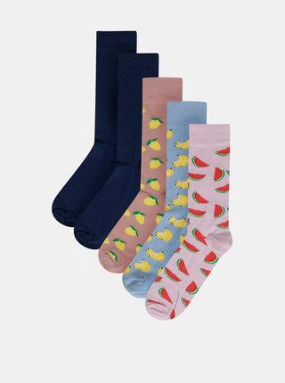Sada piatich párov vzorovaných ponožiek v rúžovej a modrej farbe Burton Menswear London