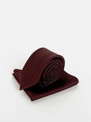 Vínová kravata s kapesníčkem Burton Menswear London
