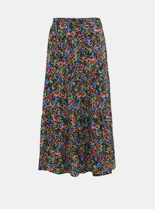 Zeleno-černá květovaná midi sukně ONLY Floral