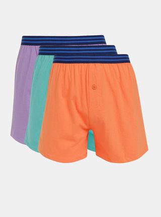 Sada tří pánských trenýrek v oranžové, zelené a fialové barvě M&Co