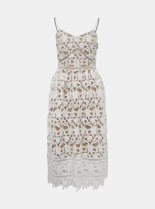 Béžovo-bílé krajkové šaty VILA Anna