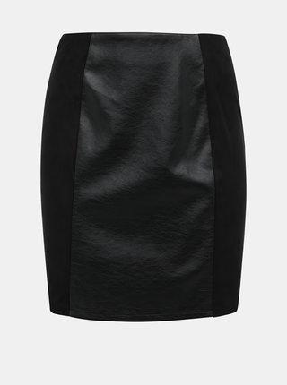 Černá koženková pouzdrová sukně s detaily v semišové úpravě VILA Alife