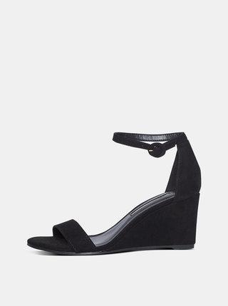 Čierne sandále na plnom podpätku v semišovej úprave Dorothy Perkins