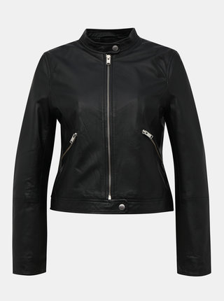 Čierna kožená bunda Selected Femme Mascha