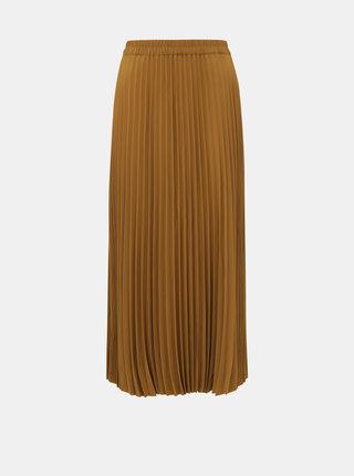 Hnědá plisovaná maxi sukně Selected Femme Alexis