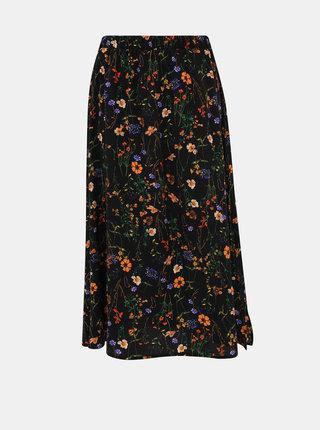 Černá květovaná midi sukně VERO MODA Lil