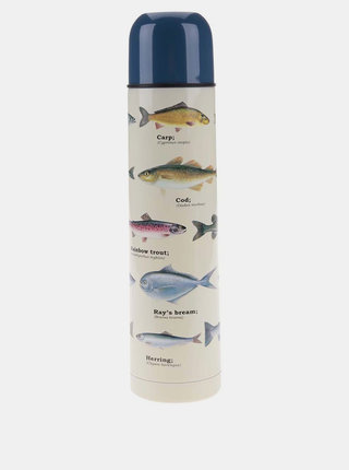 Bílá termoska s potiskem ryb Gift Republic