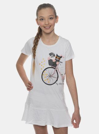 Bílé holčičí šaty s potiskem SAM 73