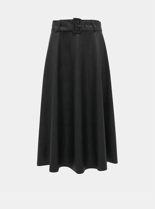 Černá koženková midi sukně ONLY Bella