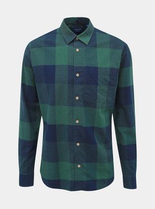 Modro-zelená kockovaná slim fit košeľa Jack & Jones Indie