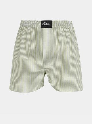 Bielo-zelené pánske pruhované trenýrky ELKA Underwear