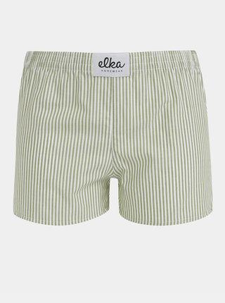 Bílo-zelené dámské pruhované trenýrky El.Ka Underwear