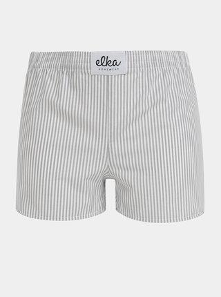 Bílo-šedé dámské pruhované trenýrky El.Ka Underwear