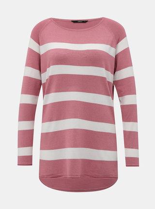 Bielo-ružový pruhovaný basic sveter ONLY Selena