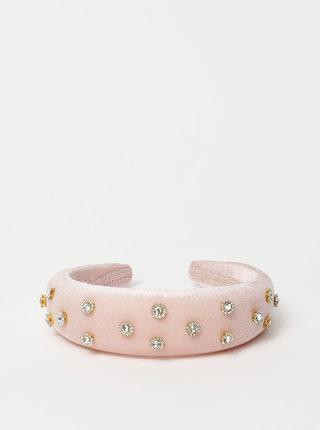 Růžová sametová čelenka s kamínky VERO MODA Katie